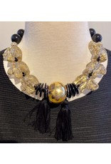 Angela Caputi 6 Elephant  Gold and Black Choker