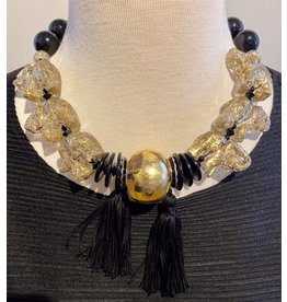 Angela Caputi 6 Elephant  Gold and Black Choker