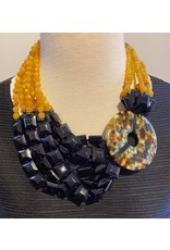 Angela Caputi Bunch rope  Black and Orange Necklace