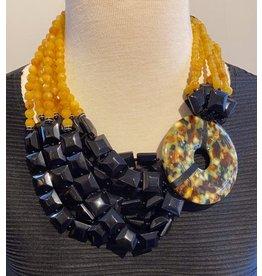 Angela Caputi Bunch rope  Black and Orange Necklace