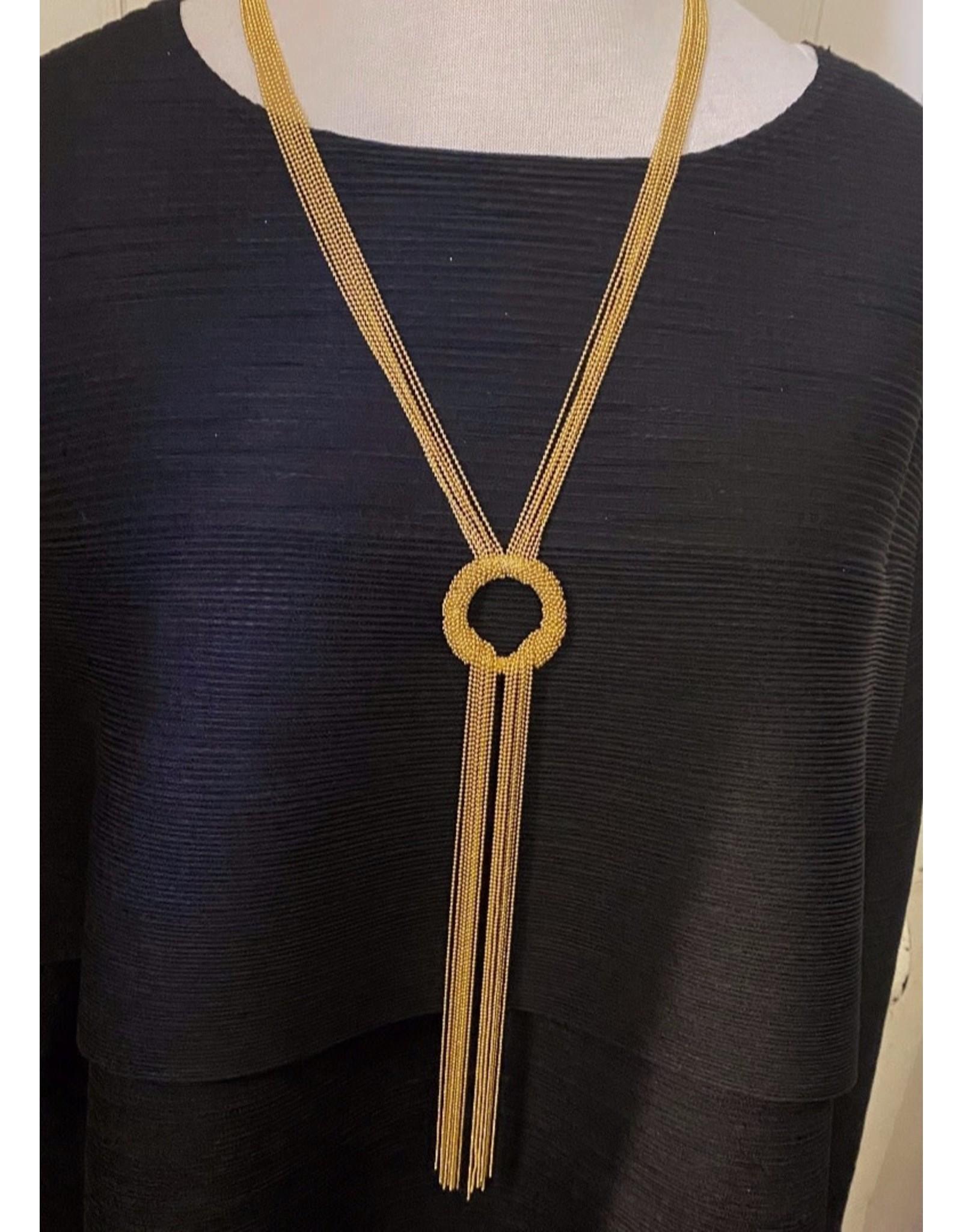 Karin Sultan Gold Tassel Circle Long Necklace