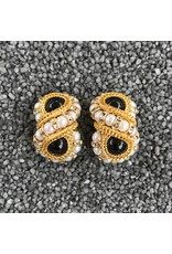 Francoise Montague Huit Pearl, Black and Gold Clip Earring