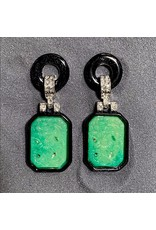Kenneth Jay Lane Green and Black Clip Earrings