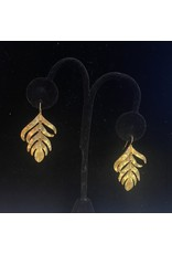 Kenneth Jay Lane Satin Gold feather Fishhook Earring