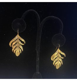 Kenneth Jay Lane Satin Gold feather Fishhook Earring