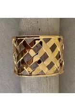 Kenneth Jay Lane Polished Gold Basket Weave Cuff
