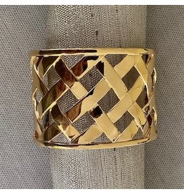 Kenneth Jay Lane Polished Gold Basket Weave Cuff