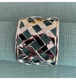 Kenneth Jay Lane Polished Silver Basket Weave Cuff