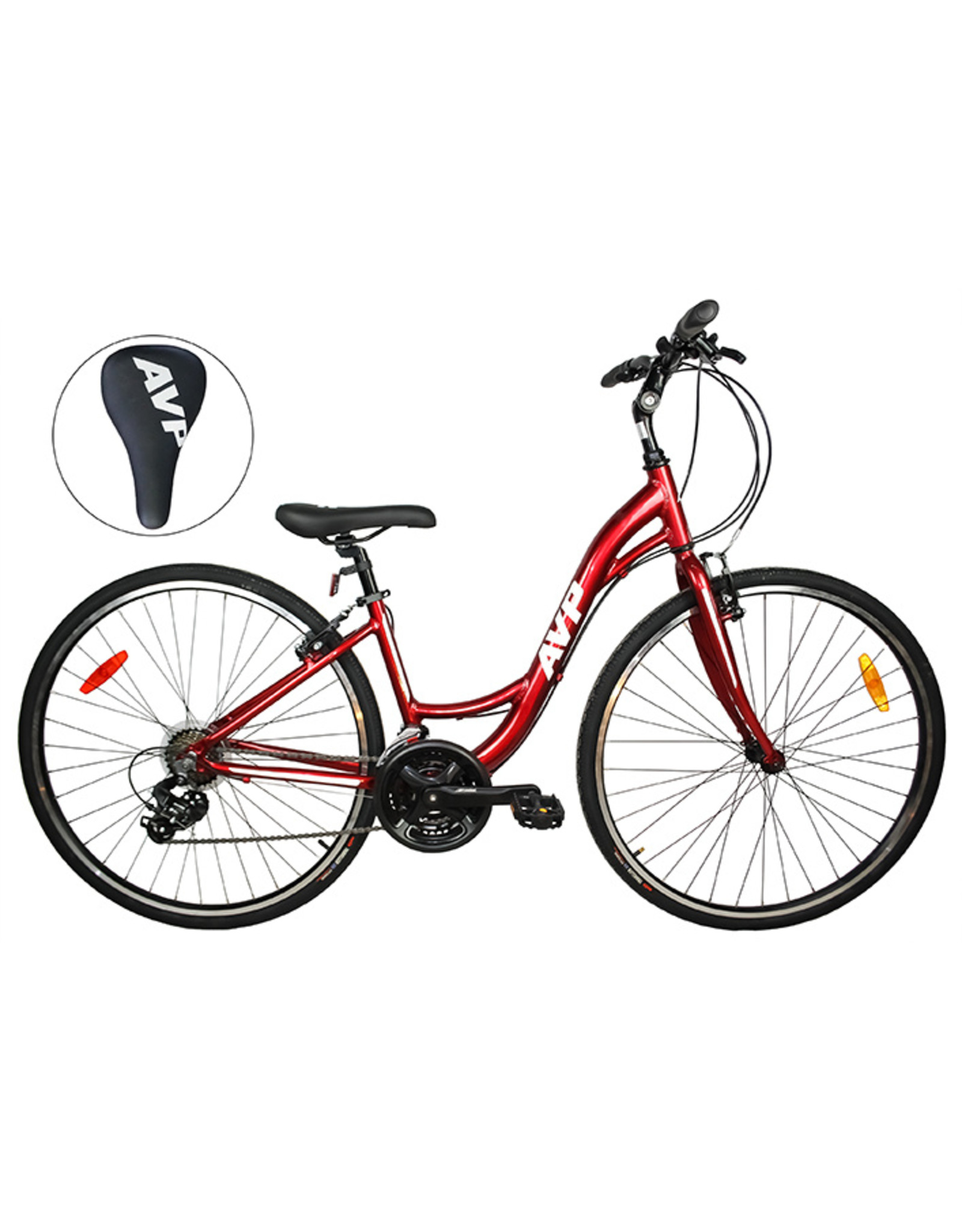 Vélo hybride AVP LowStep Rouge vin/Blanc