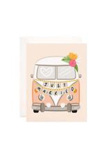 Bloomwolf Studio Bloomwolf - Just Married Getaway Van Greeting Card