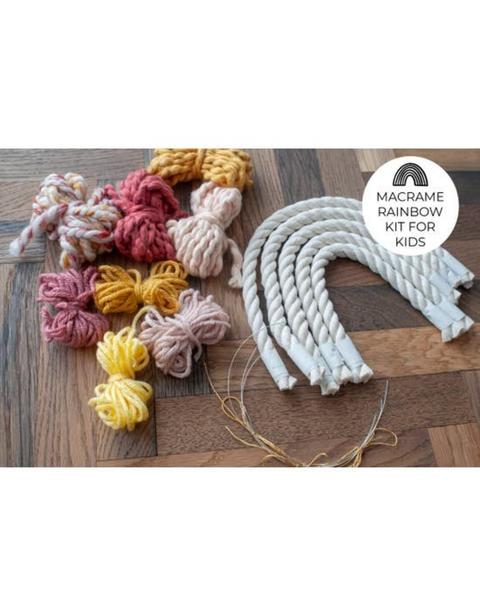 Hello Dear Heart Macrame Rainbow Kits for Kids: Red & Yellow