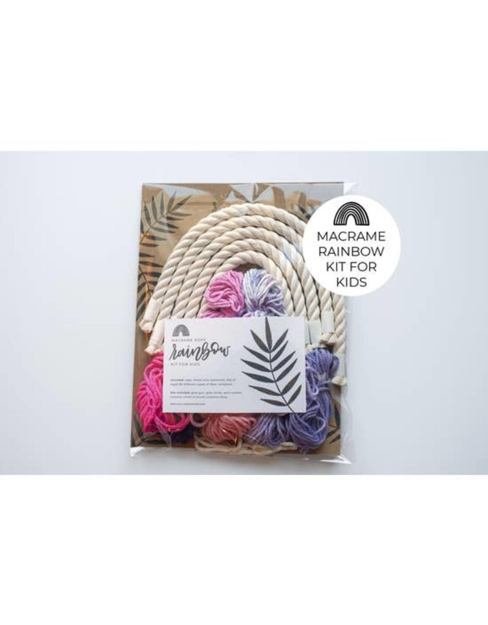 Hello Dear Heart Macrame Rainbow Kits for Kids: Pink & Purple