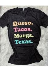 Texas Heart Co Queso. Tacos. Margs. Texas. T-Shirt