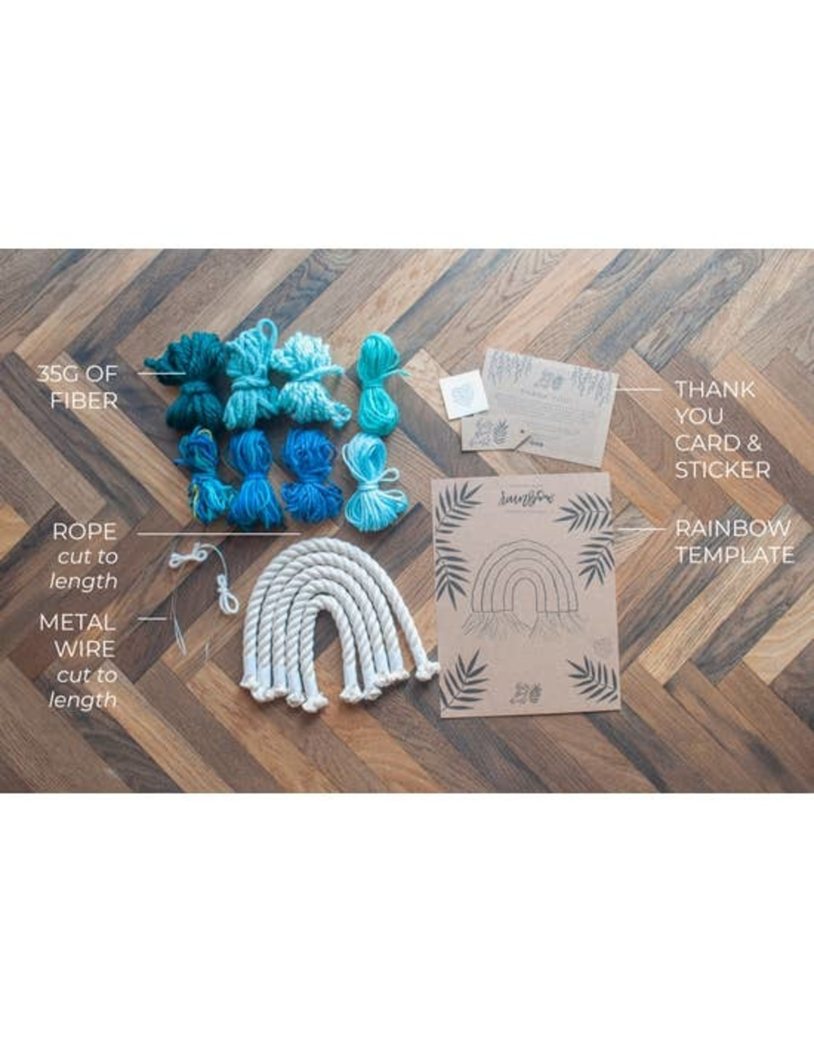 Hello Dear Heart Macrame Rainbow Kits for Kids: Green & Blue