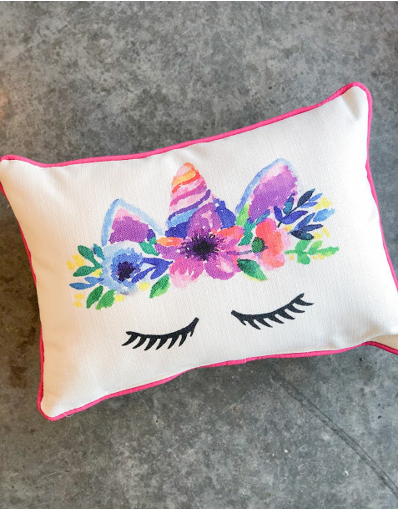 Little Birdie Unicorn With Pink Piping Pillow