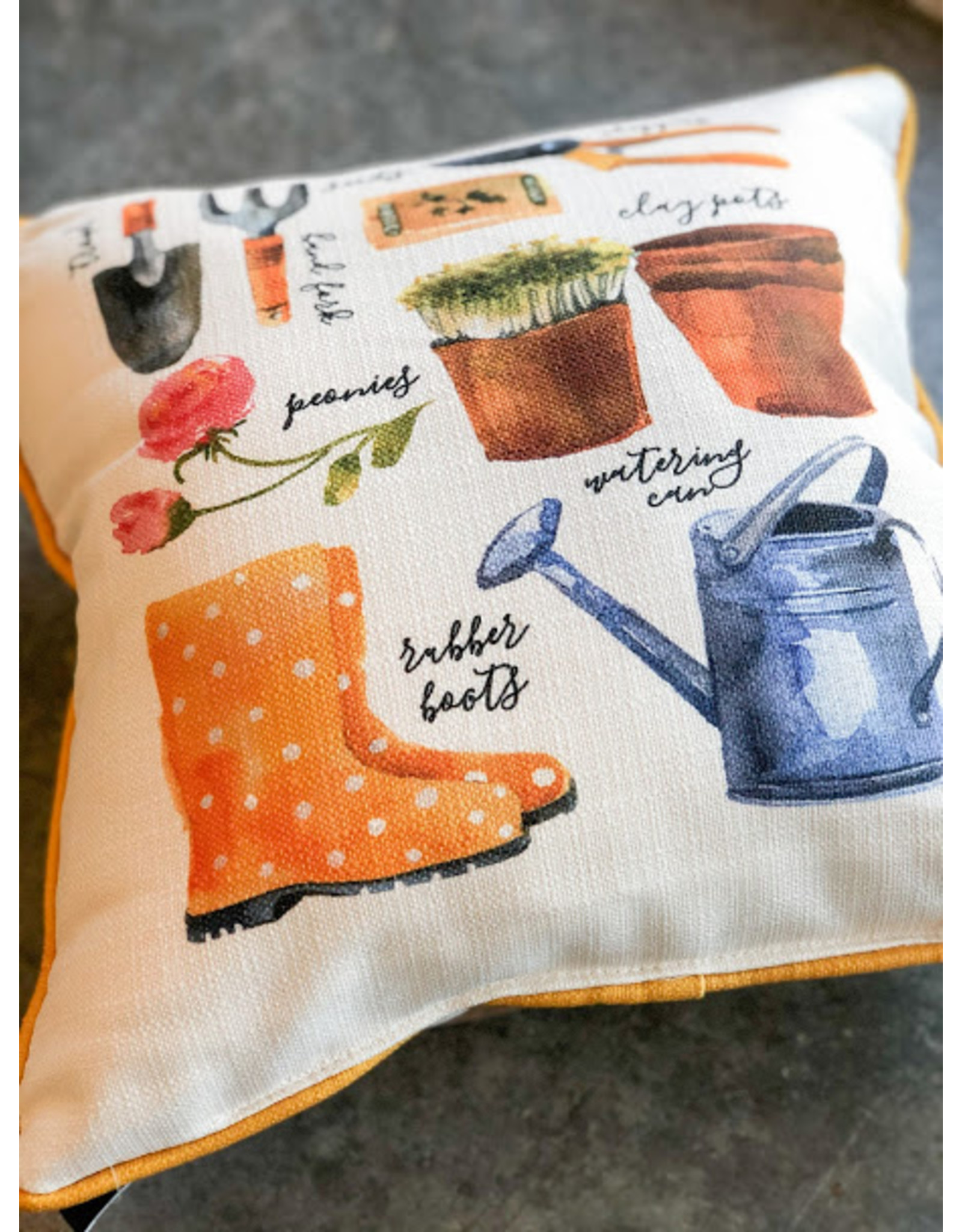Little Birdie Assorted Garden Tools Piped Pillow