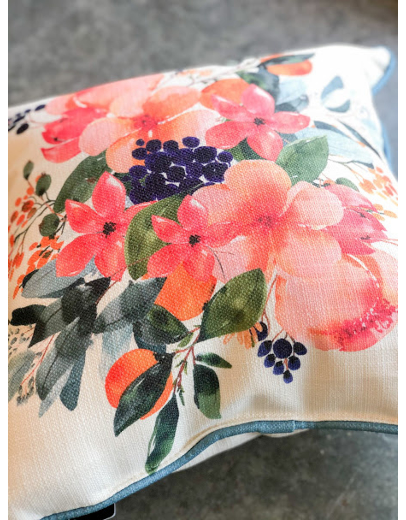 Little Birdie Spring Floral Burst Piped Pillow