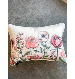 Little Birdie Garden Florals Piped Pillow