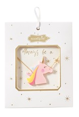 Mud Pie Pink Unicorn Necklace