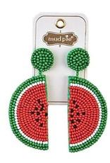 Mud Pie Beaded Icon Earrings Watermelon