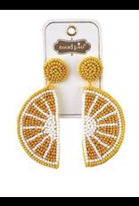 Mud Pie Beaded Icon Earrings Lemon