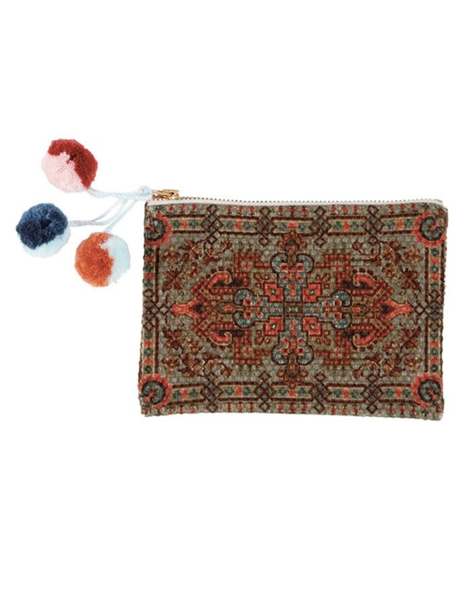 Mud Pie Coral and Blue Tapestry Pouch