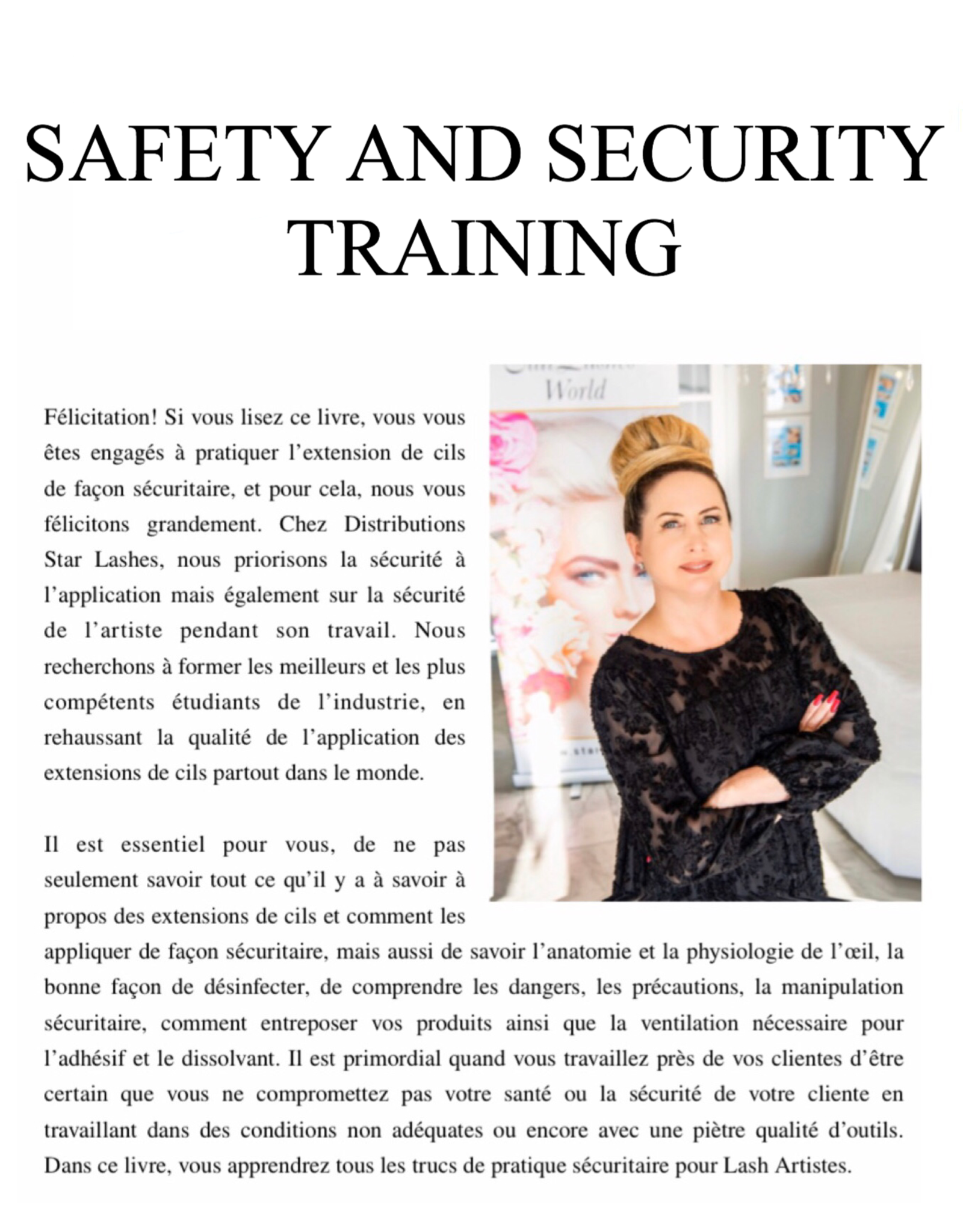 Star Lashes World Safety and Security On Line E-Book Training