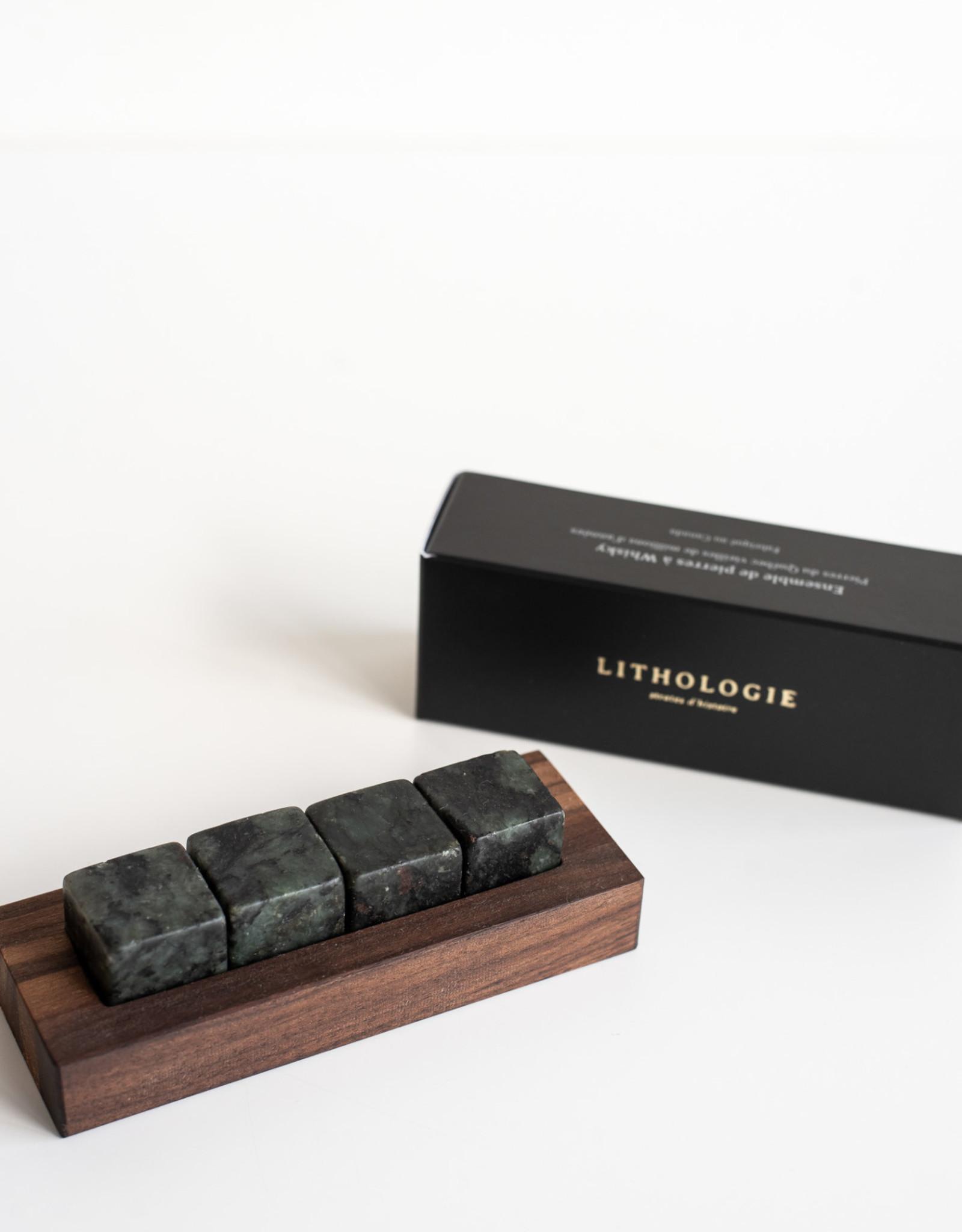 Lithologie Ensemble de 4 pierres à whisky Gneiss à Hornblend