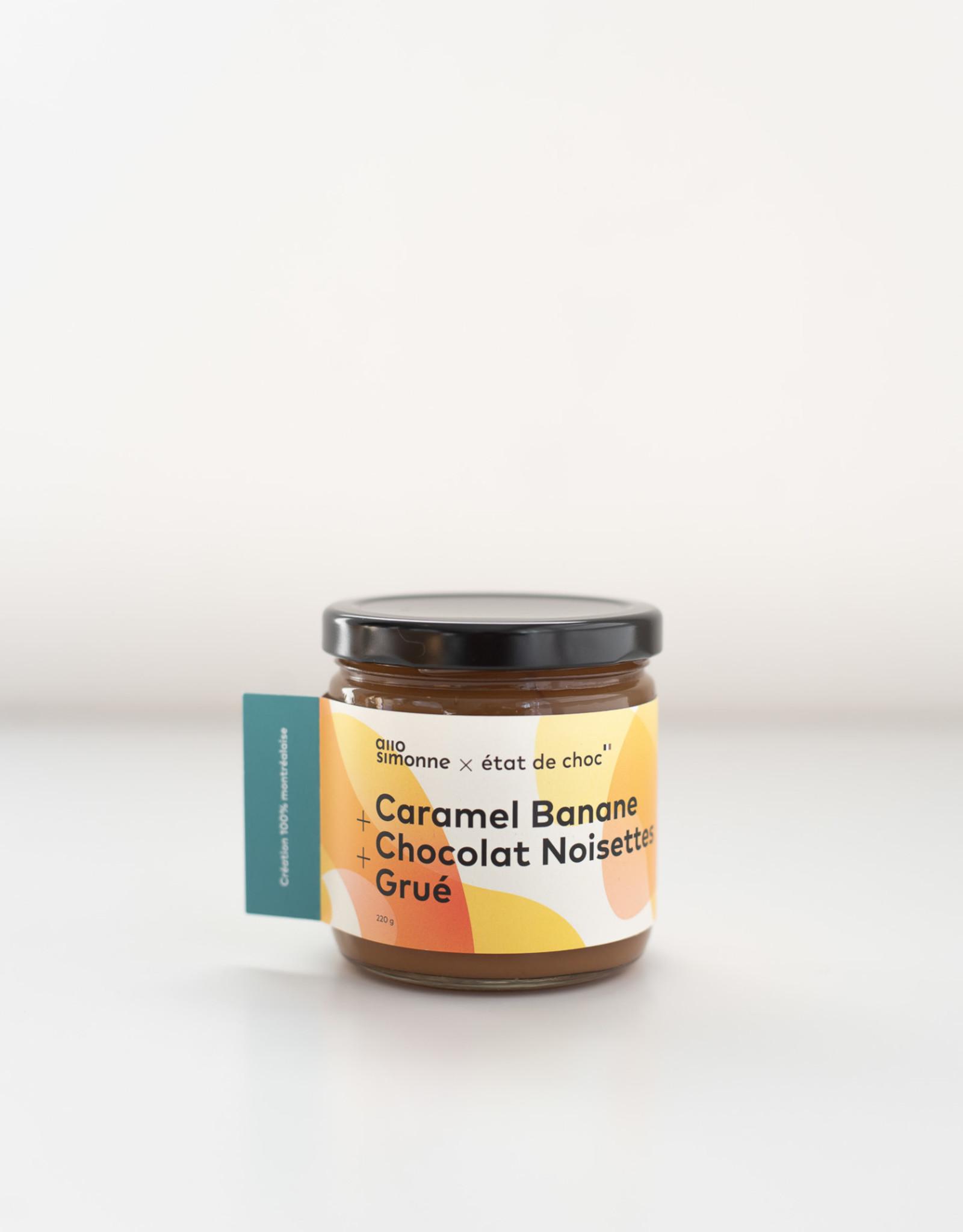 État de Choc Tartinade Caramel Banane Chocolat Noisette Grué
