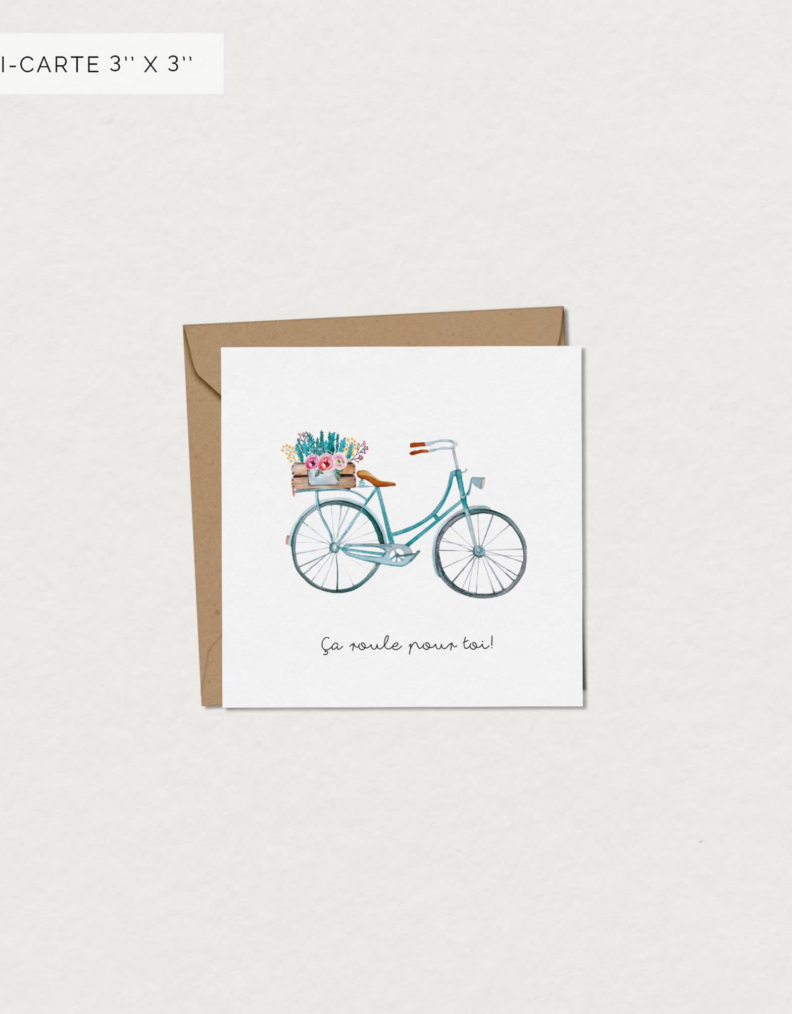 Mimosa Desing Mini Carte de souhait-Bicyclette ça roule