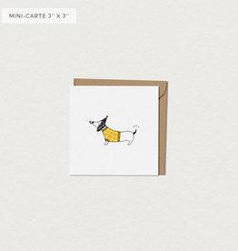 Mimosa Desing Carte de souhait-Chien Saucisse Mini 3x3