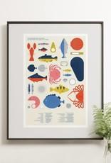 Nutritionniste Urbain Affiche Calendrier des Poissons et Fruits de mer