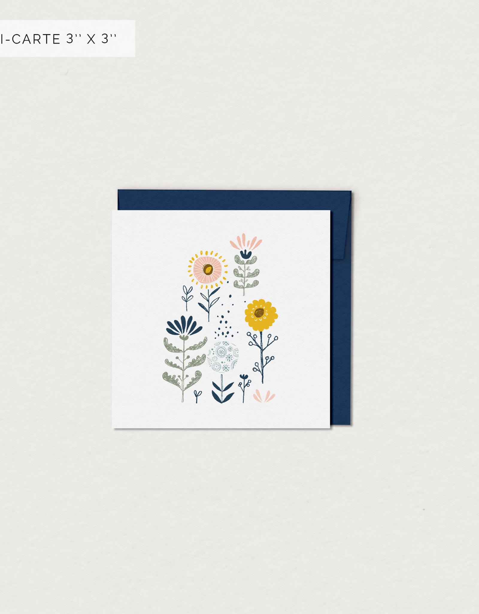 Mimosa Desing Carte de souhait- Fleur naïve mini 3x3