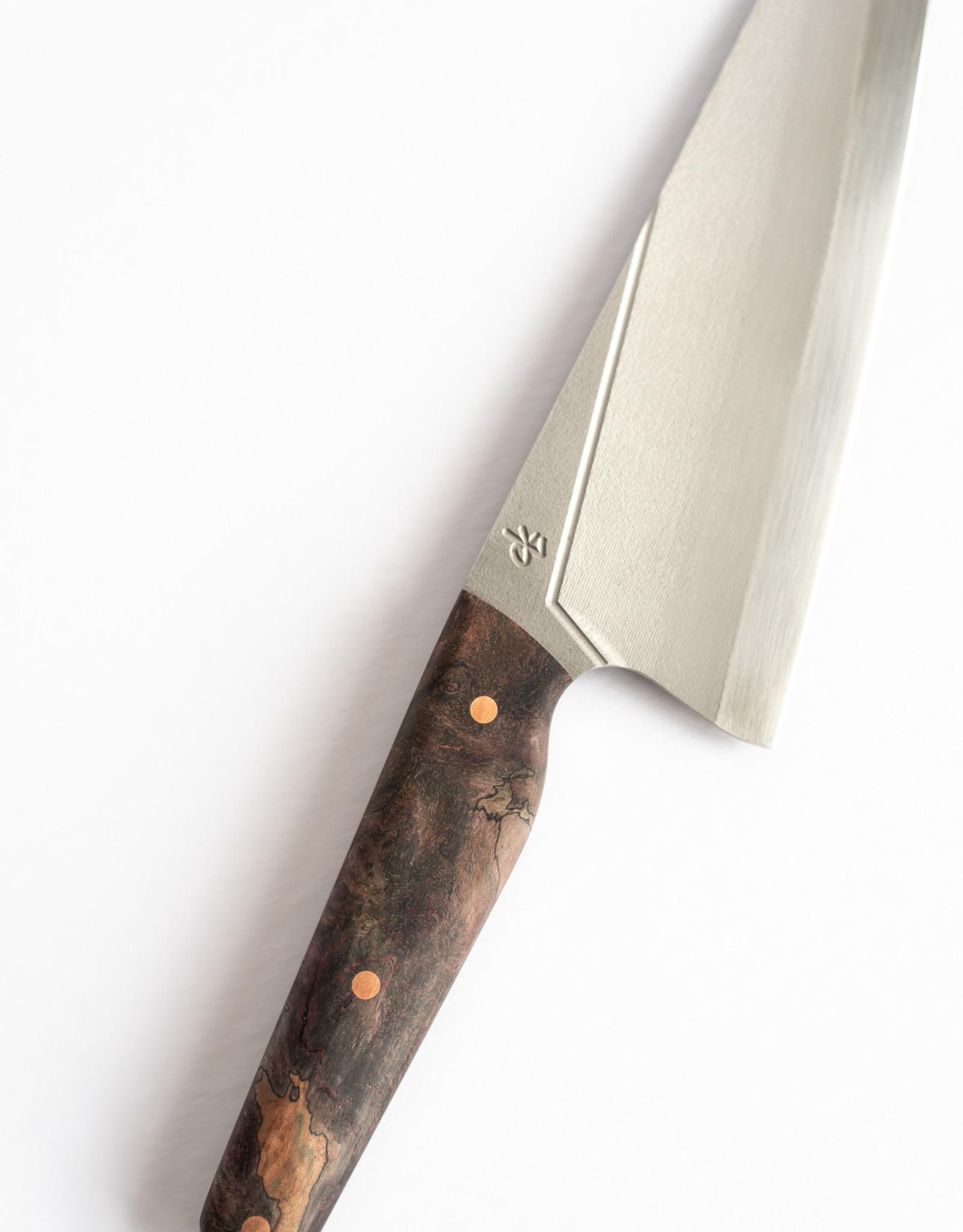 Couteaux CLK Couteau Chef 8'' Loupe d'érable échauffée teinte et Rivets de Cuivre