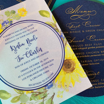 Pennysmiths Invitations Vellum Sunflower