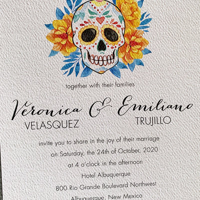 Pennysmiths Invitations Floral Skull Day of the Dead