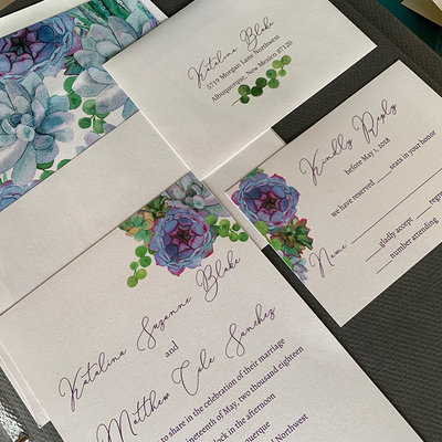 Pennysmiths Invitations Purple Succulents
