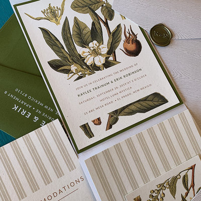 Pennysmiths Invitations Botanical Stripe