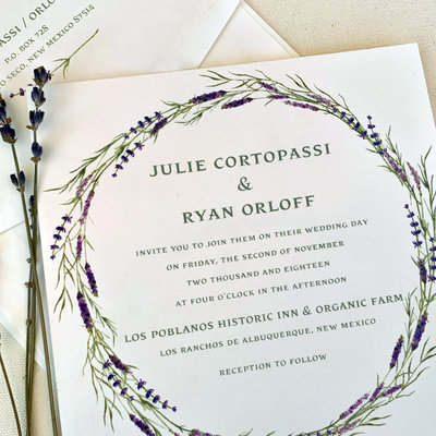 Pennysmiths Invitations Lavender Wreath