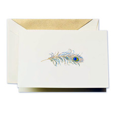 Crane Stationery Peacock Feather Engraved Note Crane