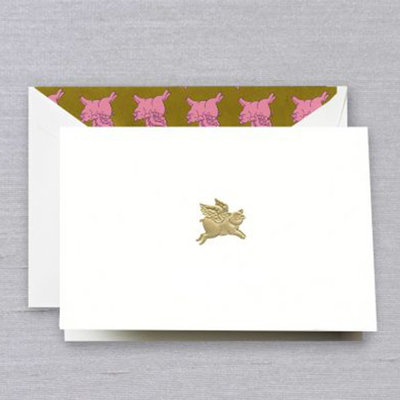 Crane Stationery When Pigs Fly Engraved Note Crane
