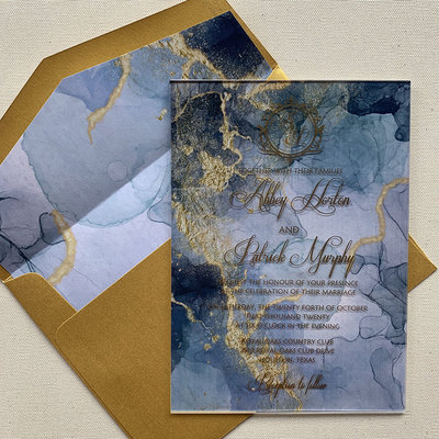 Janice Paper Blue Marble Acrylic Invitation