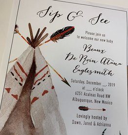 Pennysmiths Invitations Teepee Sip n See  Invitation