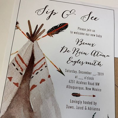 Pennysmiths Invitations Teepee Sip n See  Invitation