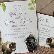Pennysmiths Invitations Baby Buffalo  Invitation