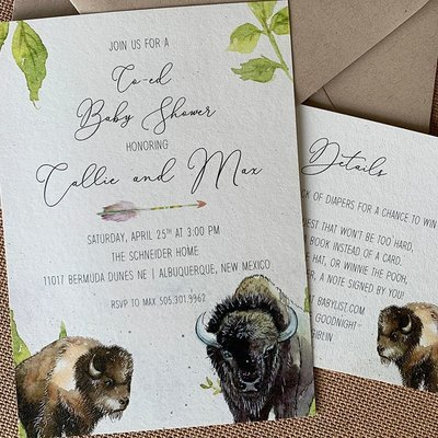 Pennysmiths Invitations Baby Buffalo  Invitation