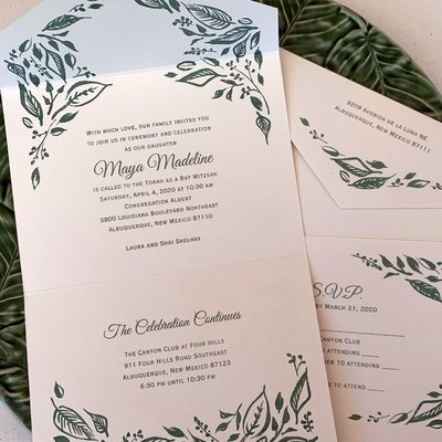 Pennysmiths Invitations Leafy All-in-One Invitation