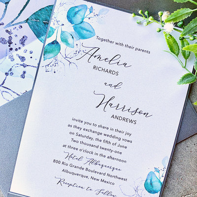 Pennysmiths Invitations Botanical Stripe Invitation