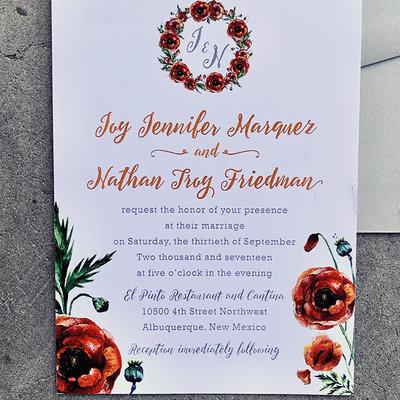 Pennysmiths Invitations Poppy Perfect Invitation