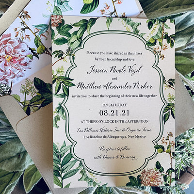 Pennysmiths Invitations Vintage Botanical Invitation